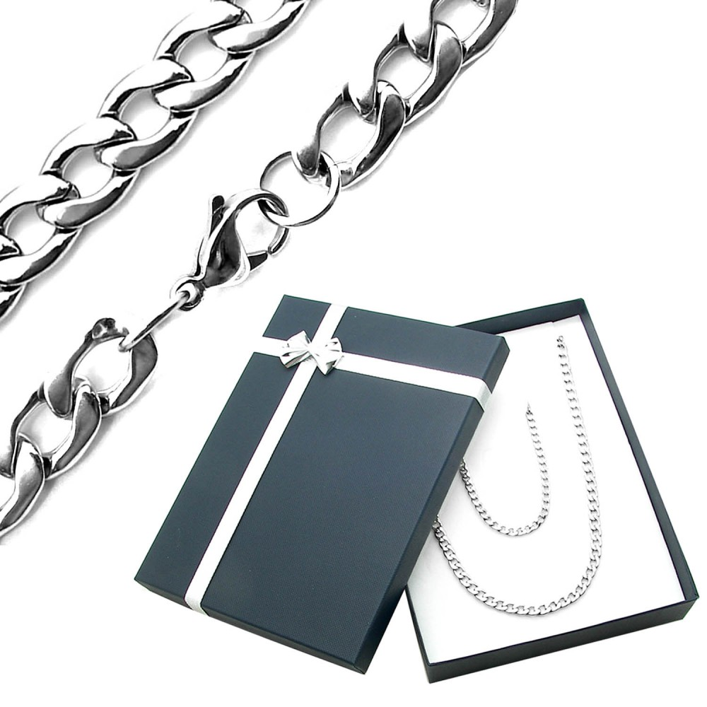 Set Edelstahlkette Armband Geschenkbox Halskette Gliederkette Königskette Stahl