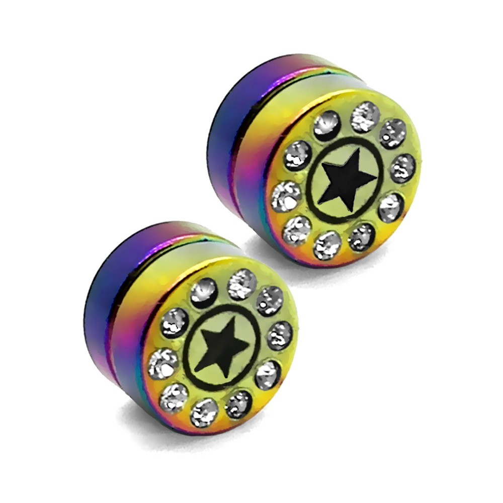 1 pair plugs magnetic taper tunnel earrings stainless