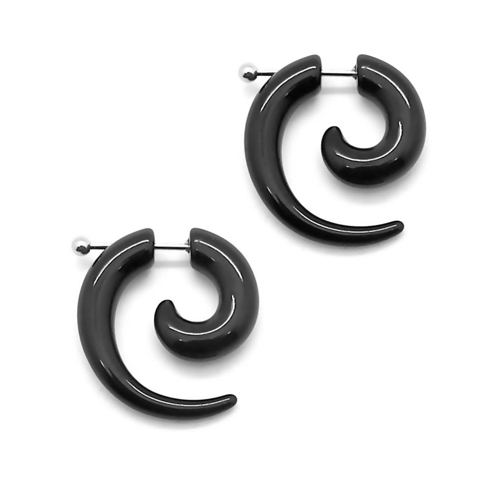 2 faux plugs plug tunnel ecarteur en b ton en spirale taper boucle d oreille ebay. Black Bedroom Furniture Sets. Home Design Ideas