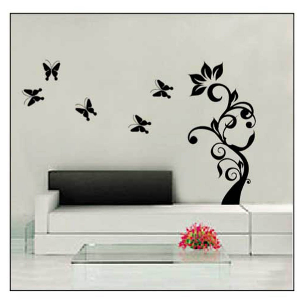 Adhesivos decorativos pegatinas de pared tattoo casa flor for Pegatinas para pared