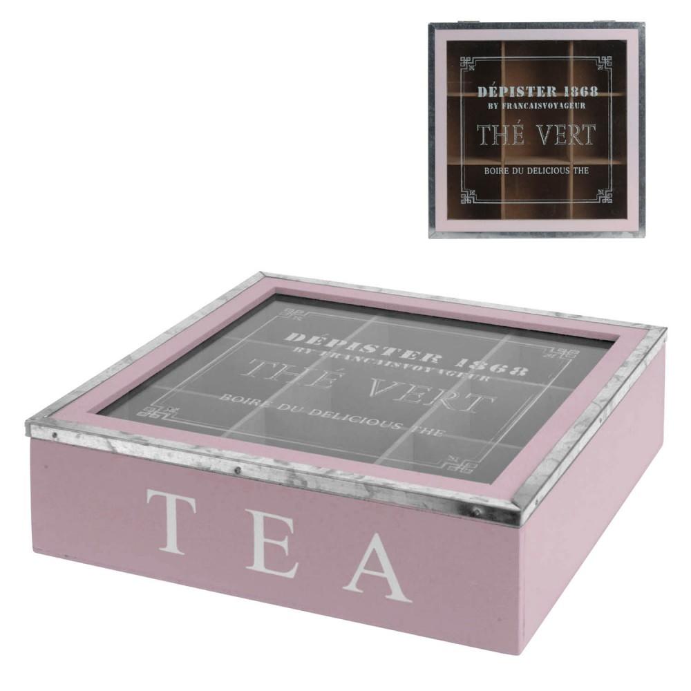 1x teebox lila teekiste tee aufbewahrung vintage sichtfenster teebeutelbox holz ebay. Black Bedroom Furniture Sets. Home Design Ideas