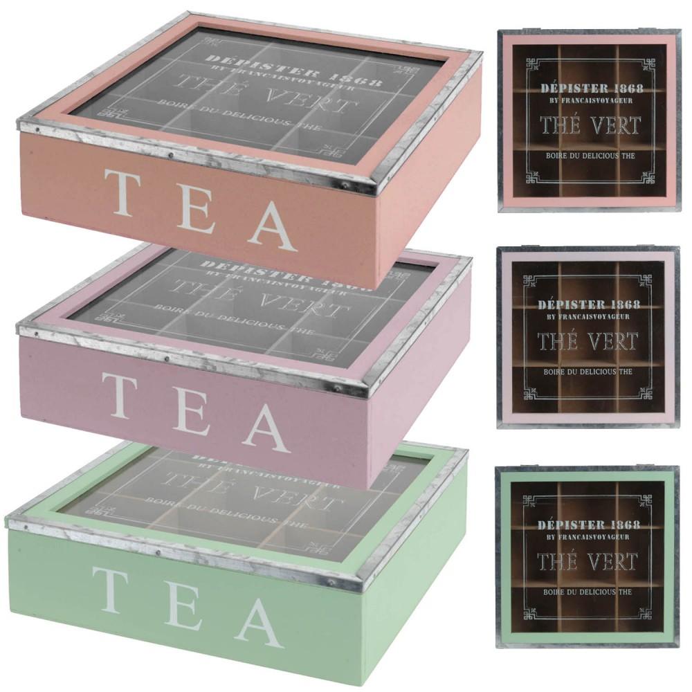 teebeutelkiste teebox tee aufbewahrung holz teedose dose teekiste gr n rosa lila ebay. Black Bedroom Furniture Sets. Home Design Ideas