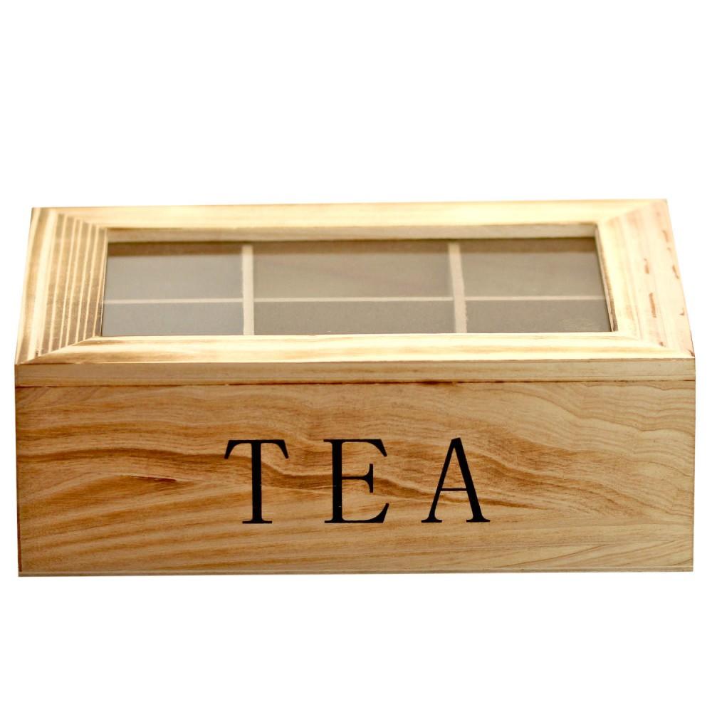 1 teebox aus holz teebeutel dose braun grau teeaufbewahrung holzbox sichtfenster ebay. Black Bedroom Furniture Sets. Home Design Ideas