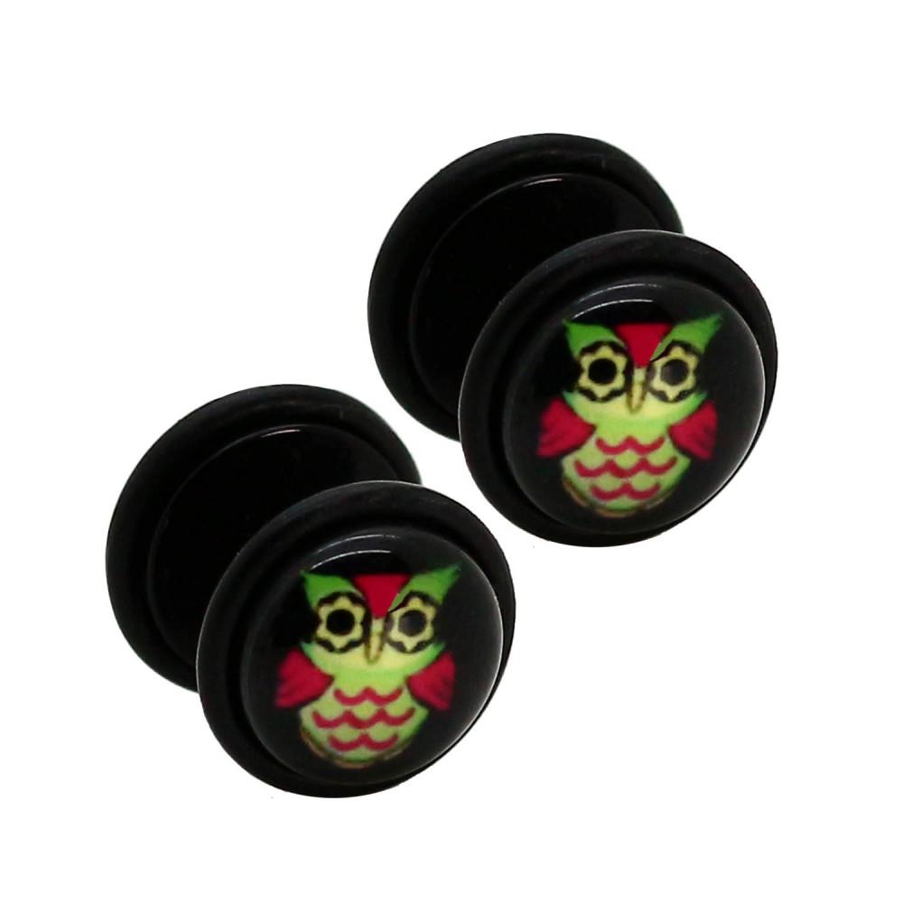 2 fake plug fakeplugs uhu eule tunnel ohrpiercing ohrstecker schwarz wei damen ebay. Black Bedroom Furniture Sets. Home Design Ideas