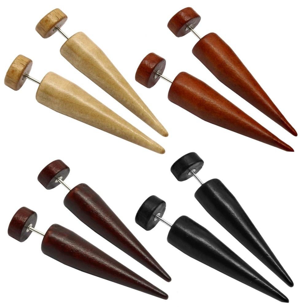 faux ecarteur dilatateur bois plug conique fake tunnel boucle d oreille piercing ebay. Black Bedroom Furniture Sets. Home Design Ideas