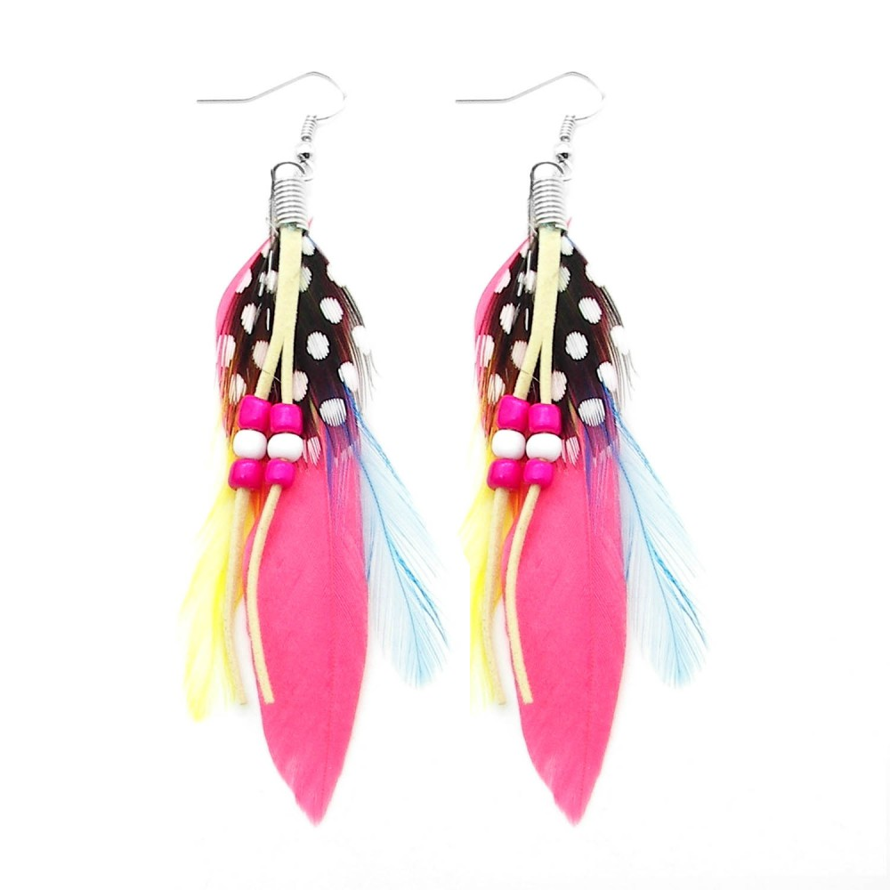 boucle d oreille plume bijoux cuir perle rose rouge jaune rose vif verte ebay. Black Bedroom Furniture Sets. Home Design Ideas