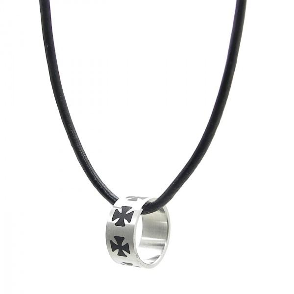 Anhänger Lederkette Ring Eisernes Kreuz Set Halskette Silbern Schwarz Herren