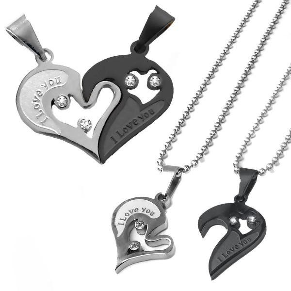 2 necklaces 2 pieces parts pendant set heart i love you ball 2 necklaces 2 pieces parts pendant set heart mozeypictures Image collections