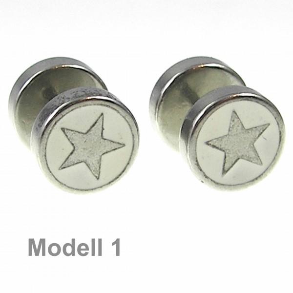 2x-10mm-Fake-Plug-Ohrstecker-Edelstahl-Weis-Schwarz-Stern-Ohrringe-zum-Schrauben
