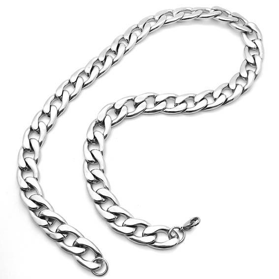 231e7a345 hombre, cadena de acero inoxidable sólido encintado bizantino plata