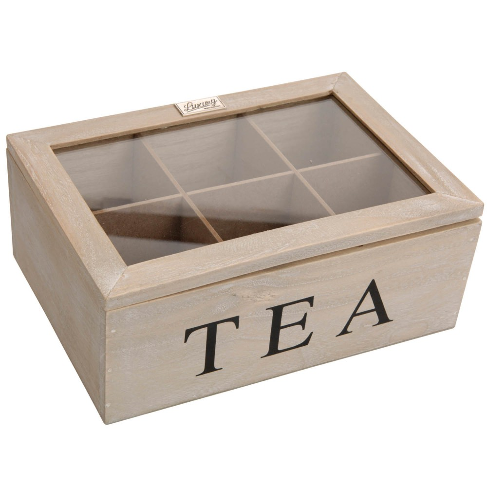 1 holz teebox teekiste holzbox braun sichtfenster teebeutelbox tee aufbewahrung ebay. Black Bedroom Furniture Sets. Home Design Ideas