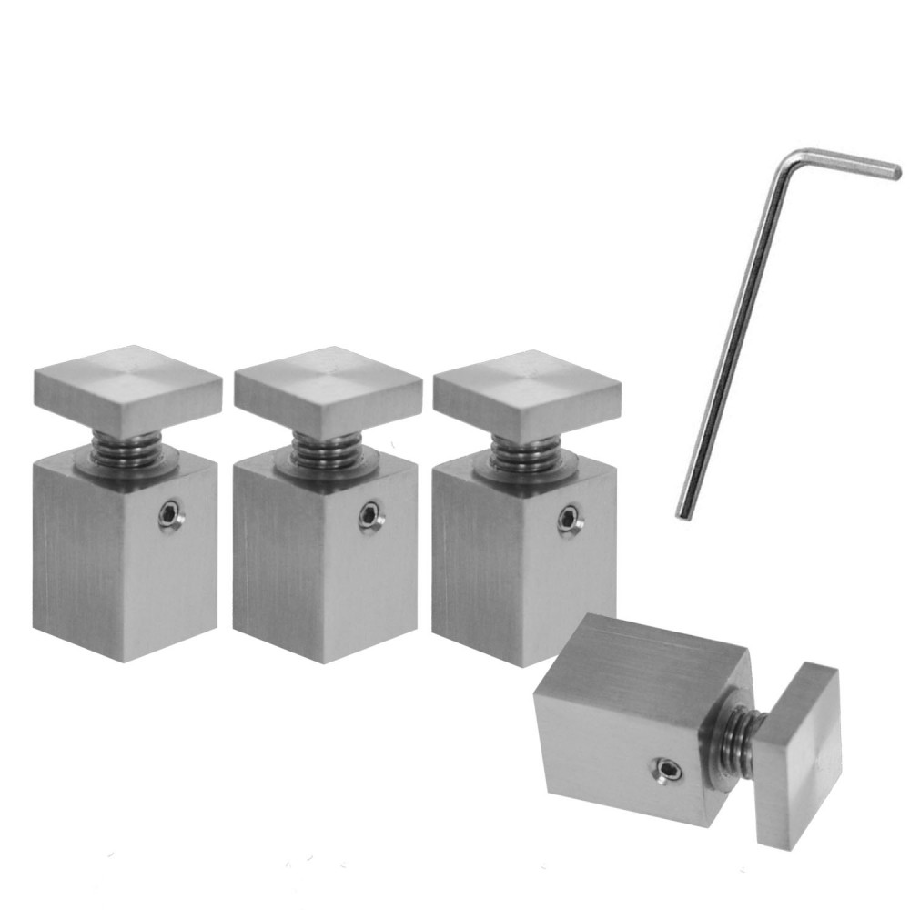 4 Mirror Holder Mounting Brackets Wall Glass Plate Stainless Steel Square 1 8cm Ebay