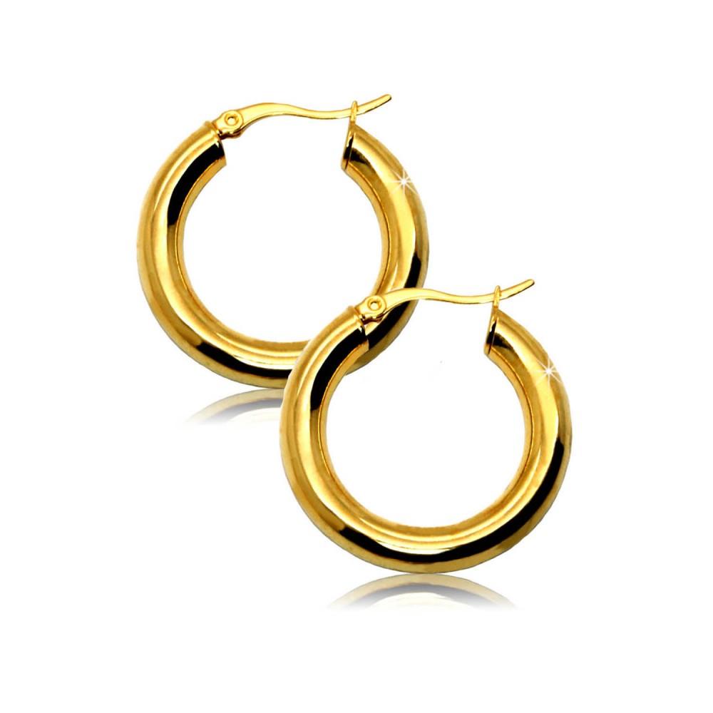 cr ole boucle d oreille acier inoxydable femme ronde grande bijoux fantaisie. Black Bedroom Furniture Sets. Home Design Ideas