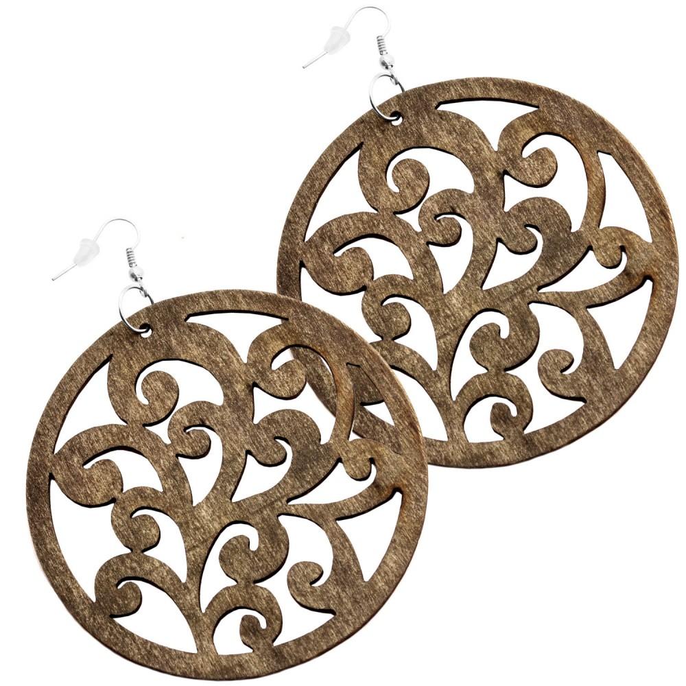 damen ohrringe holz ohr h nger naturschmuck creolen vintage ornamente blumen ebay. Black Bedroom Furniture Sets. Home Design Ideas