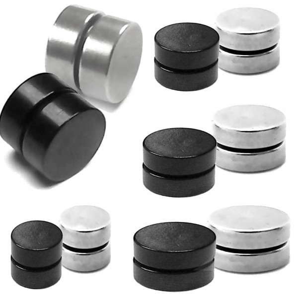 1x schwarz 1x silbern magnet fakeplugs fake plug magnetisch tunnel ohr expander ohrclips ohne. Black Bedroom Furniture Sets. Home Design Ideas